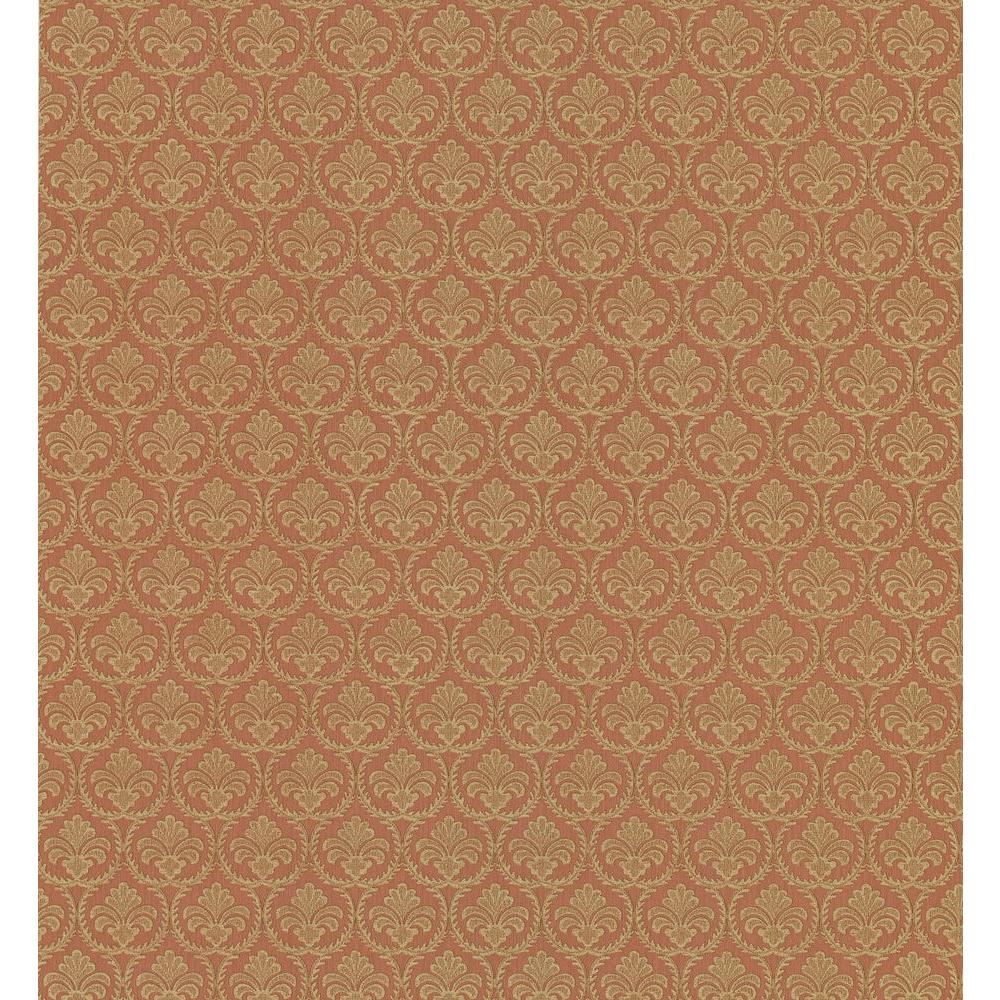 Brewster Textured Weaves Red Shell Motif Wallpaper Sample