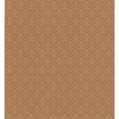 Textured Weaves Red Shell Motif Wallpaper Sample