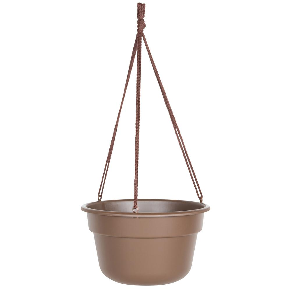 Dura Cotta 10 in. Chocolate Plastic Hanging Basket