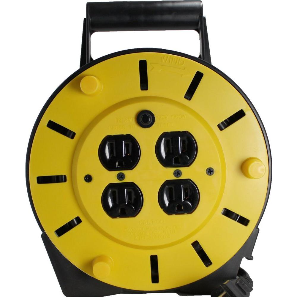 Woods 25 ft.16/3 4-Outlet Cord Reel Power Station - Black and Yellow