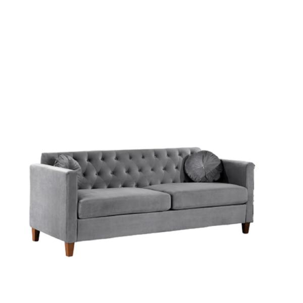 Us Pride Furniture Lory 79 5 In Gray Velvet 3 Seater Lawson Sofa With Square Arms S5539 S The Home Depot
