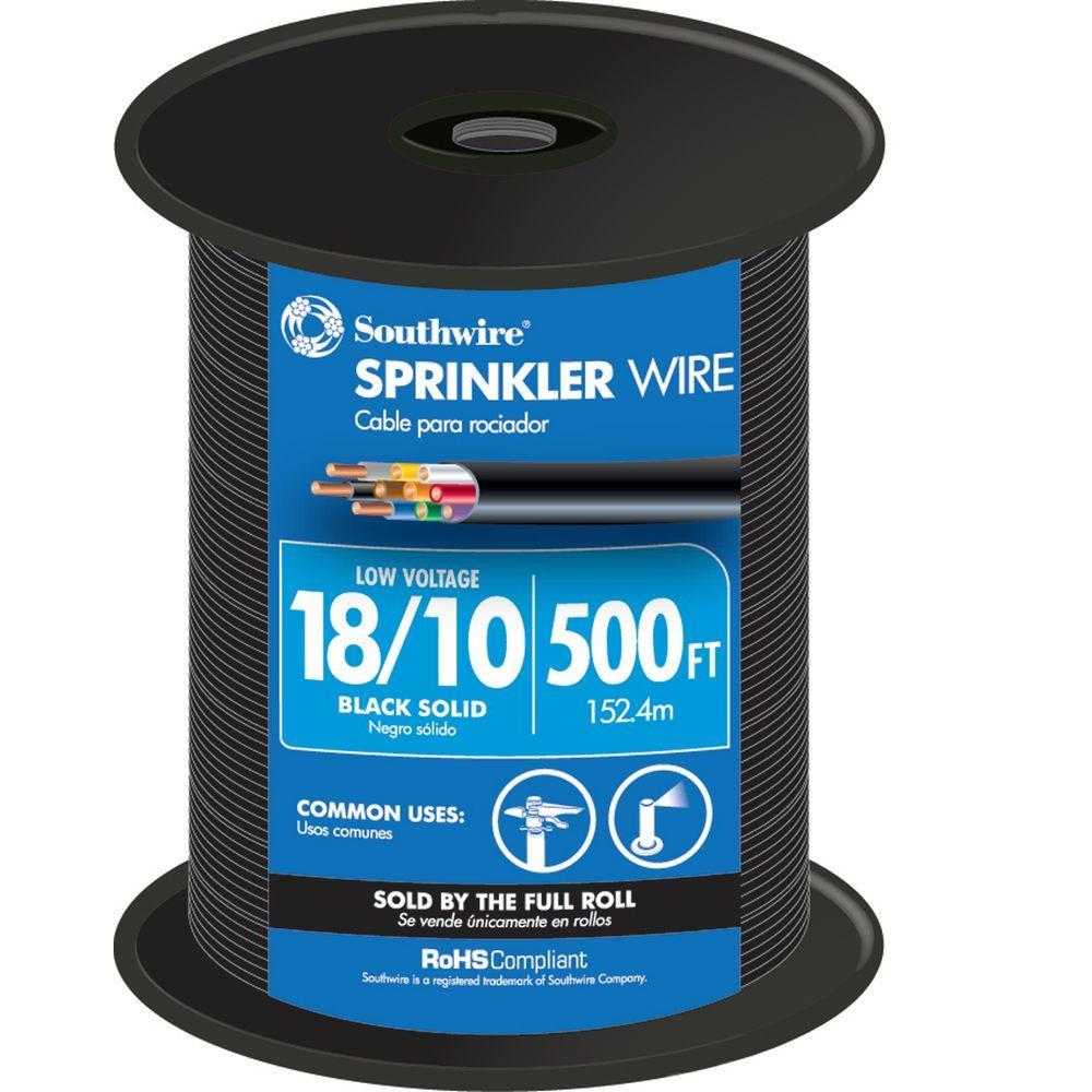 500 ft.18/10 Black Solid UL Burial Sprinkler System Wire