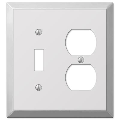 Metallic 2 Gang 1-Toggle and 1-Duplex Steel Wall Plate - Polished Chrome