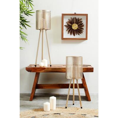 Tall Cylindrical Gold Mesh Metal Candle Holders on Tripod Bases (Set of 2)