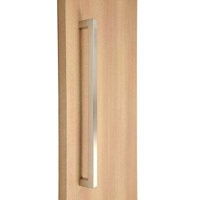 32 in. Square Style 1 in. x 1 in. Brushed Satin Stainless Steel Door Pull Handleset with Easy Installation