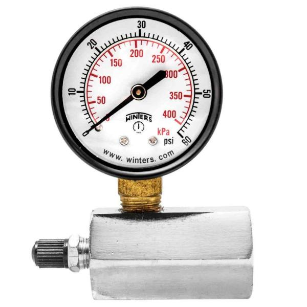 PETG Series 2 in. Gas Test Pressure Gauge with Test Valve Adapts to 3/4 in. FNPT and Range of 0-60 psi/kPa