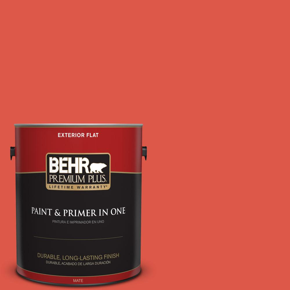 BEHR Premium Plus 1-gal. #180B-6 Fiery Red Flat Exterior Paint