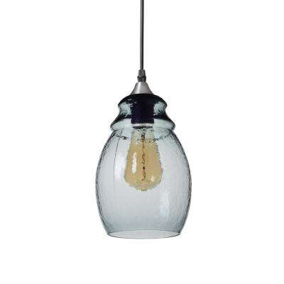 11 in. H 1-Light Silver Hammered Glass Pendant with Blue Glass Shade