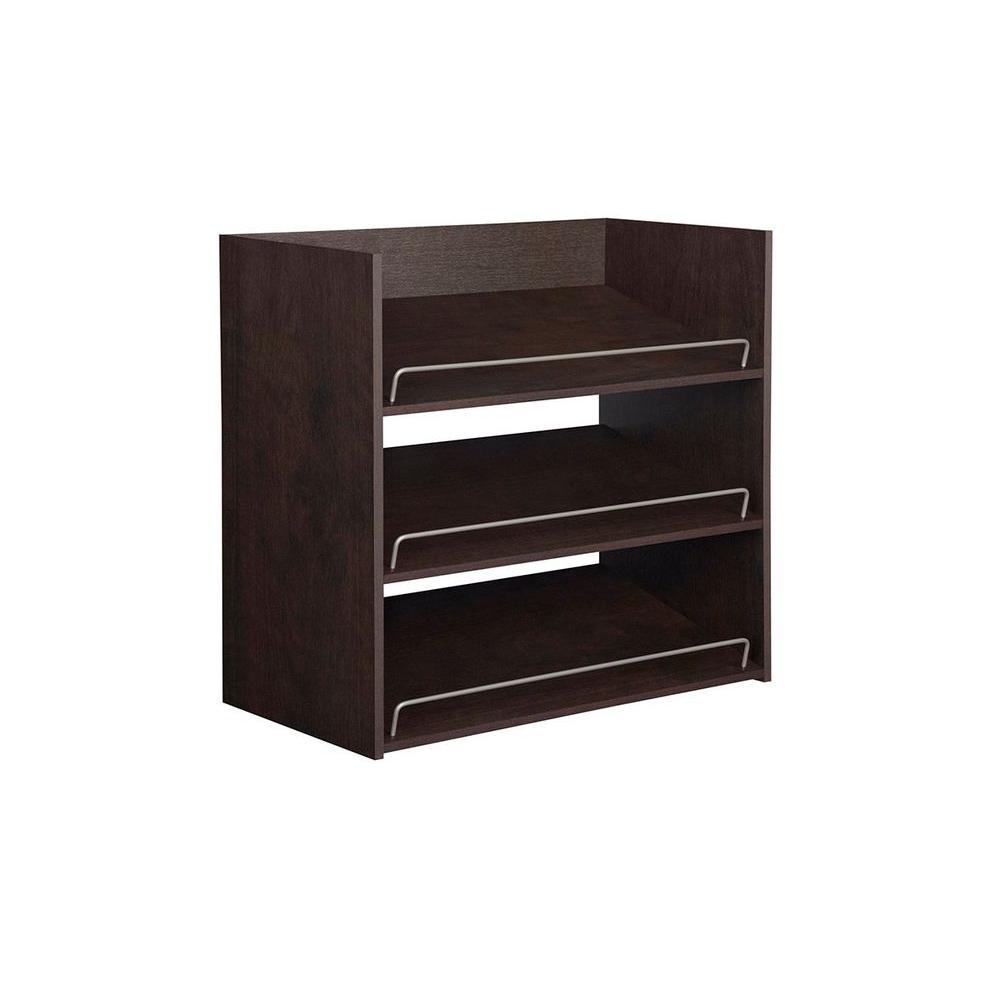 Impressions 3-Shelf Chocolate Shoe Organizer