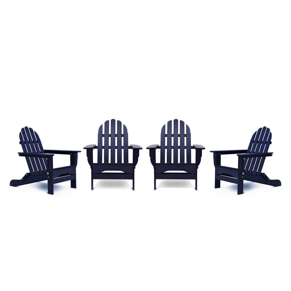Icon Navy 4-Piece Plastic Adirondack Chair Patio Seating Set