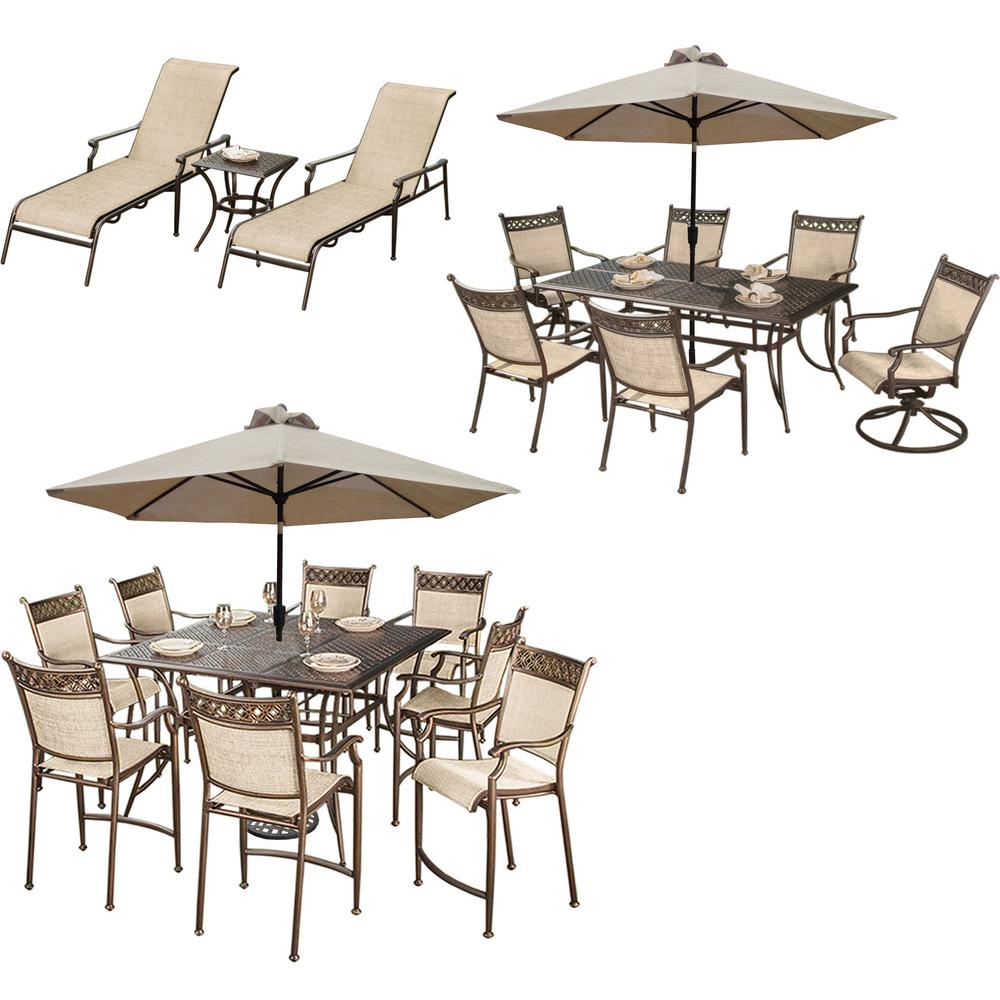 Bali 23-Piece Aluminum Outdoor Dining Set with Oatmeal Cushions
