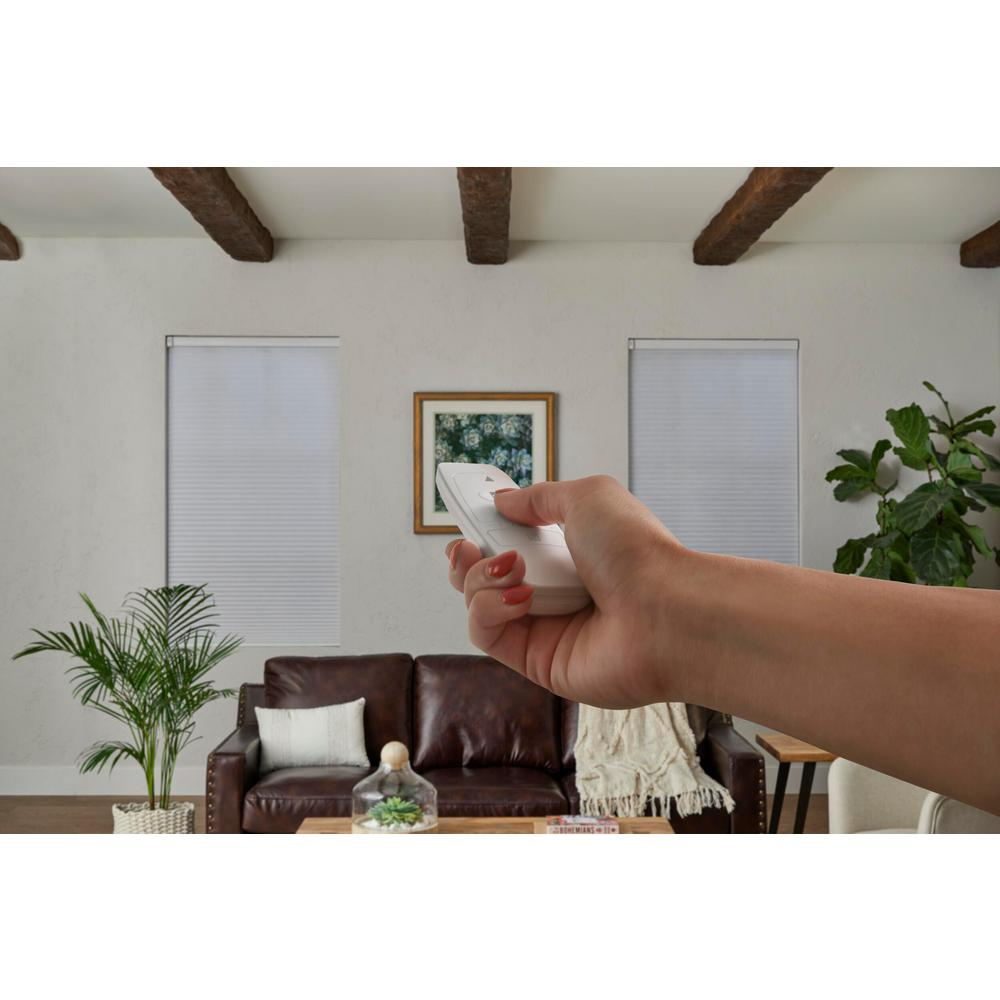 Home Decorators Collection Cut-to-Size White Cordless Blackout Polyester Motorized Cellular Shade with Remote Control 72 in. W x 72 in. L