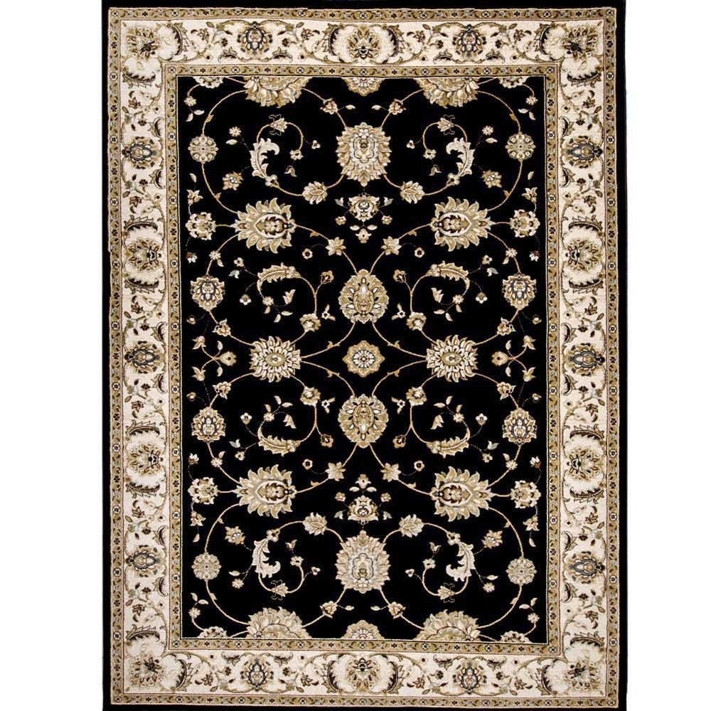 Bazaar Floral Heirloom Black/Ivory 7 ft. 10 in. x 10 ft. 2 in. Indoor Area Rug