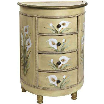 cream and floral storage end table - Cream Colored End Tables