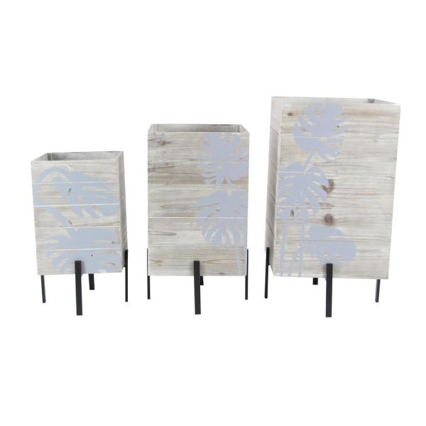 Rustic 11 in., 13 in. and 15 in. Rectangular Wood and Iron Planters with Stands (Set of 3)