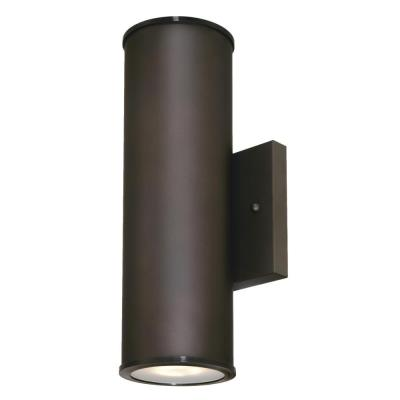 Mayslick 2-Light Oil Rubbed Bronze Outdoor Integrated Wall Lantern Sconce Cylinder