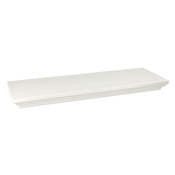 8 in. x 1-3/4 in. Floating White Wood Shelf (Price Varies By Finish/Length)