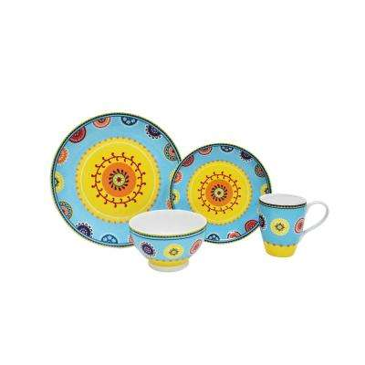 Caracas 16-Piece Blue Dinnerware Set