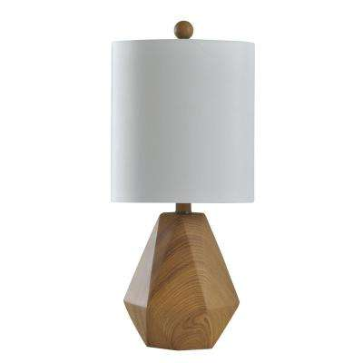 20 in. Natural Wood Pattern Table Lamp with White Hardback Fabric Shade