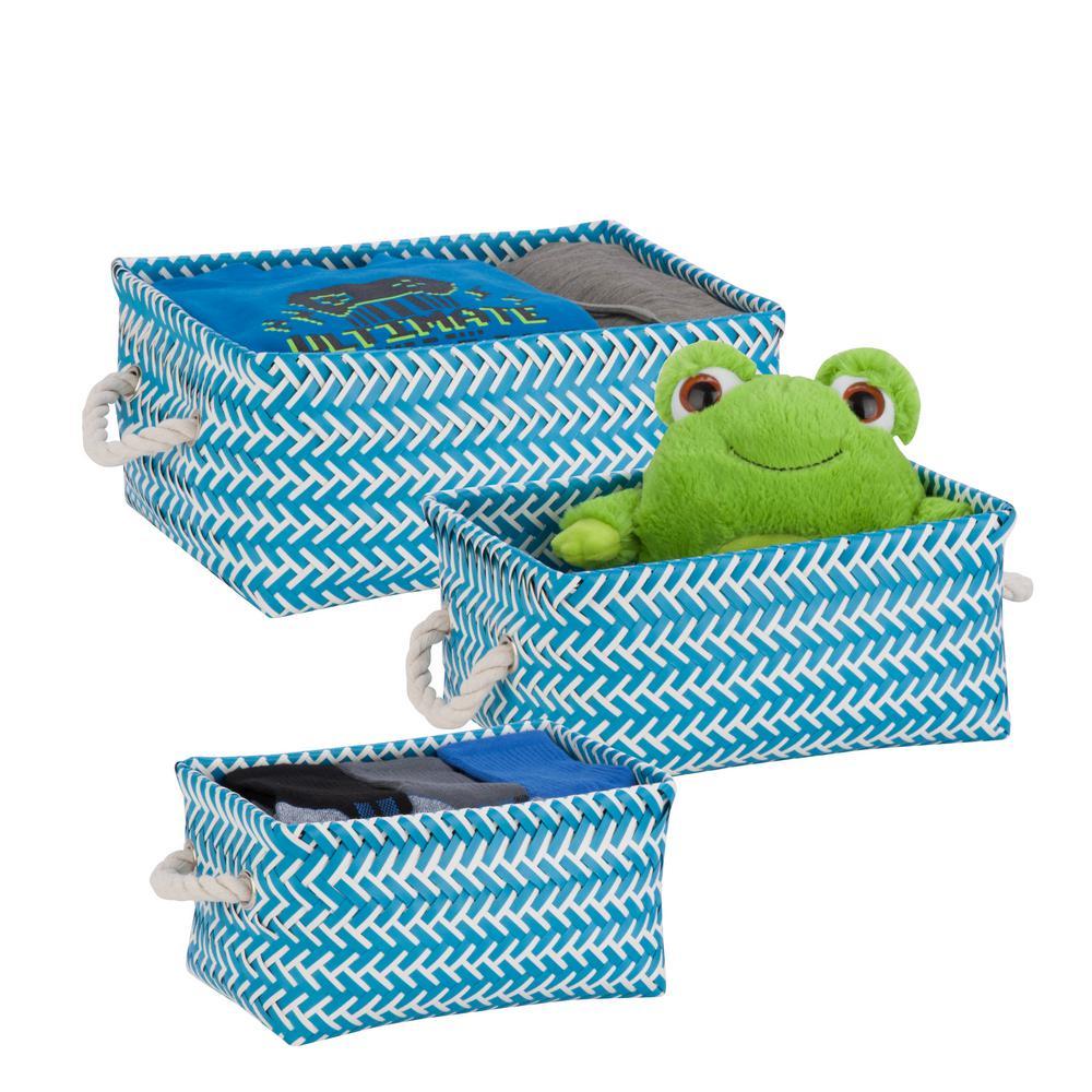 13 in. x 6 in. Ocean Blue Nestable PP Weave Storage Baskets (3-Pack)