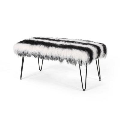 Binniker 16.50 in. x 34 in. x 18.50 in. White and Black Bench with Hairpin Legs