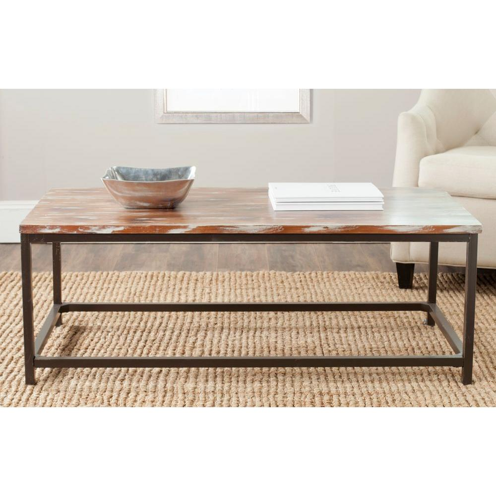 Safavieh alec weathered barnwood coffee table amh6545f the home safavieh alec weathered barnwood coffee table geotapseo Image collections