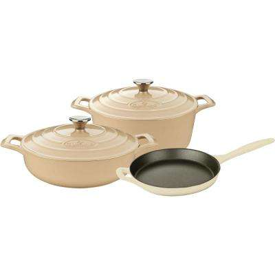 PRO 5-Piece Enameled Cast Iron Cookware Set with Saute, Skillet and Round Casserole in Cream