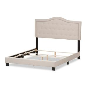 Emerson Beige Fabric Upholstered Full Bed