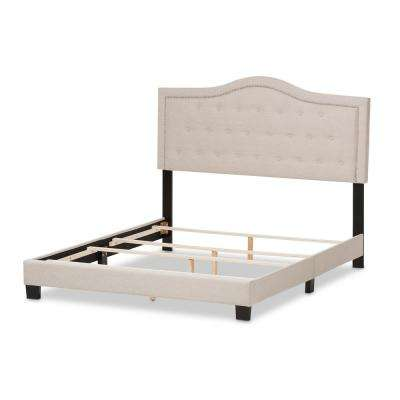 Emerson Beige Fabric Upholstered Queen Bed