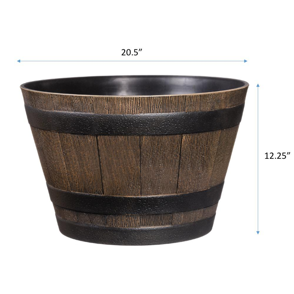 Whiskey Barrel Planter Brown Large Durable Resin Plants