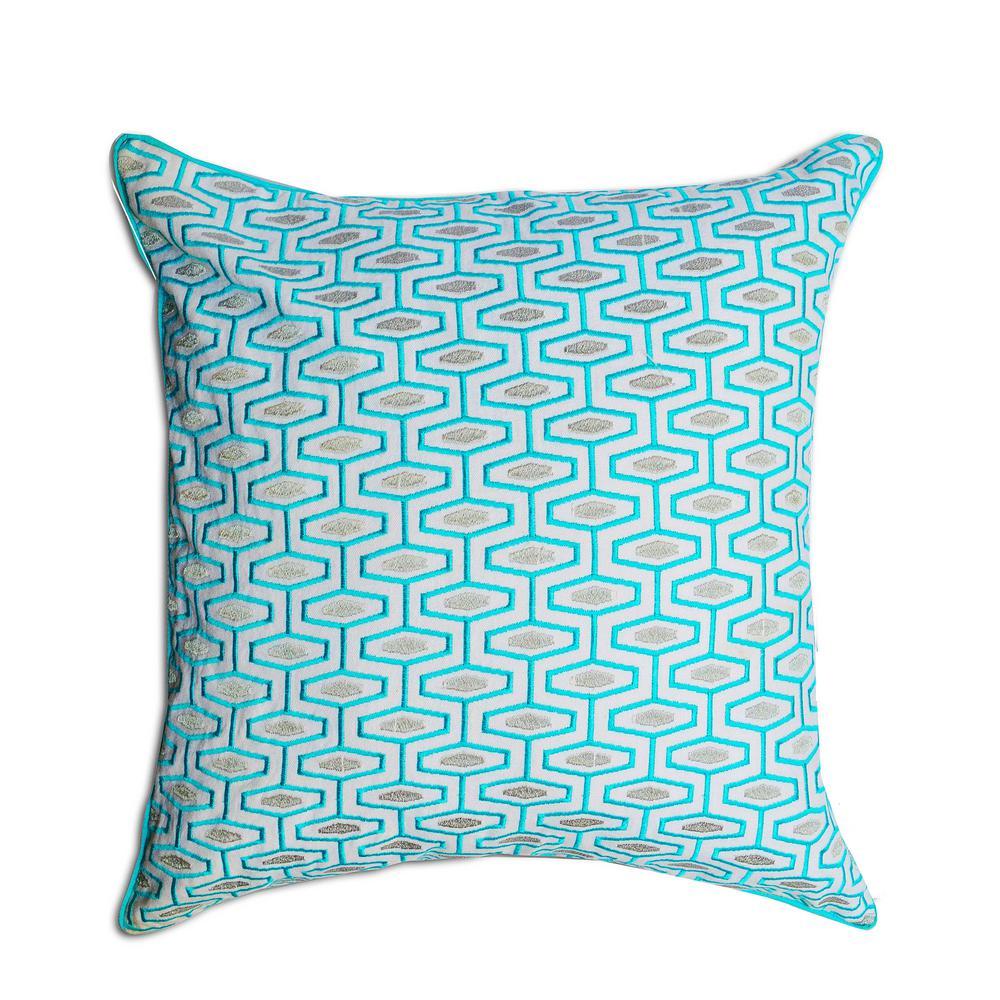 A1HC Blue Brick Geometric 20 in. Cotton Throw Pillow