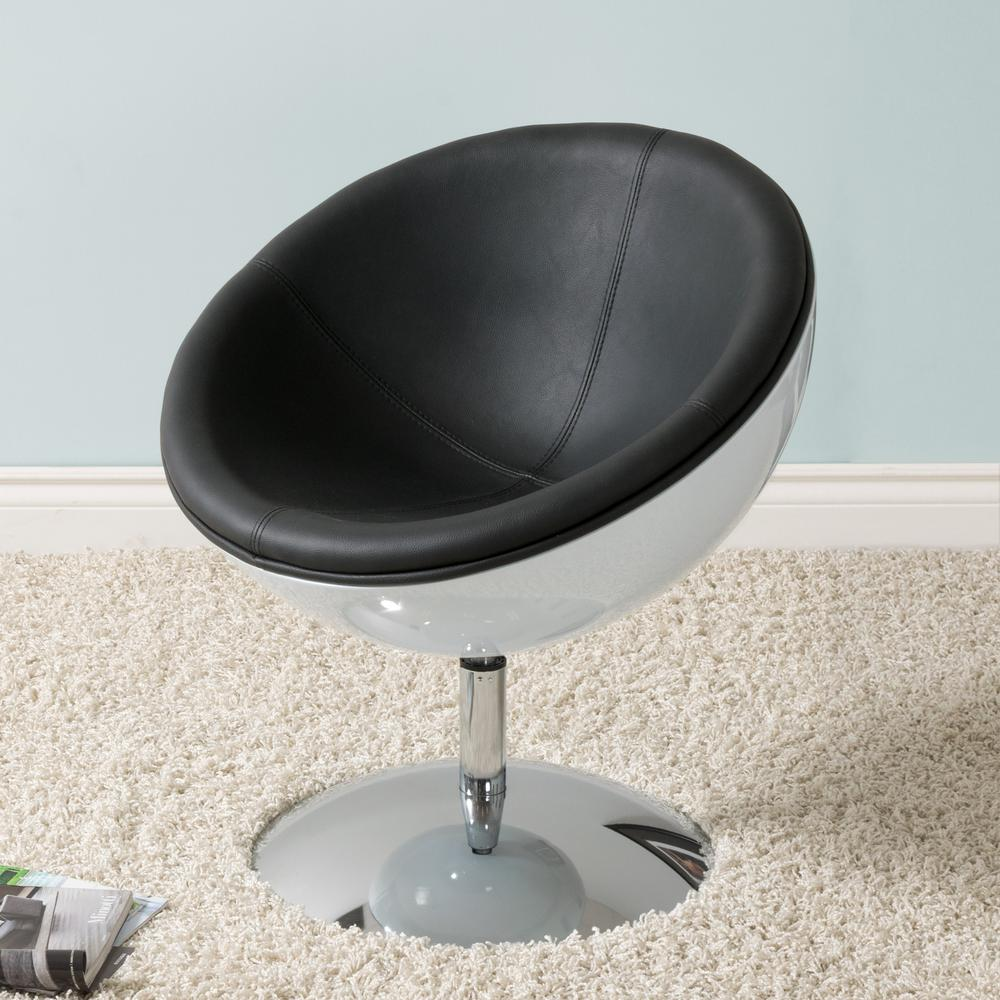 Corliving Mod Modern Black And White Bonded Leather Swivel Circular Chair