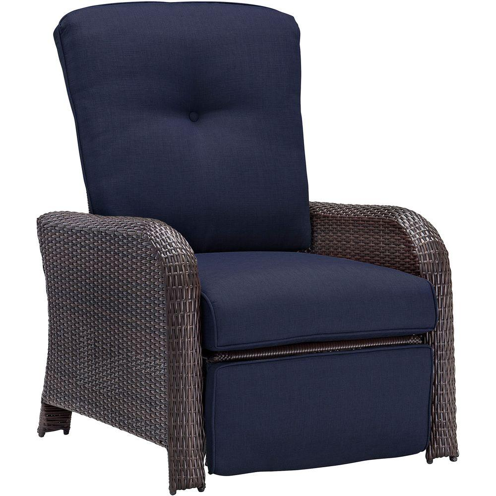 Strathmere All-Weather Wicker Reclining Patio Lounge Chair with Navy Blue