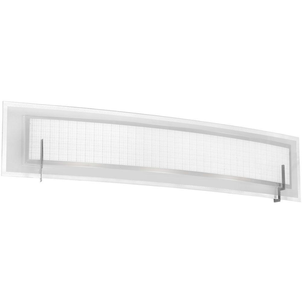 Frosted Linen 4-Light Satin Chrome Vanity Light with Frosted and Linen