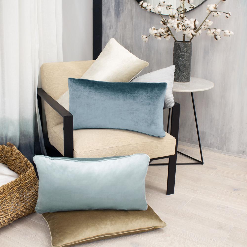 Lucas Velvet Harbor Blue Solid Polyester 14 in. x 24 in. Throw Pillow (Set of 2)