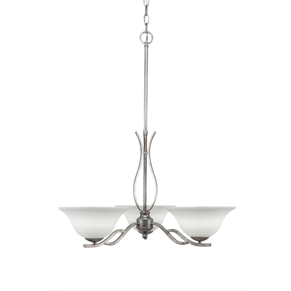 Filament Design 3-Light Aged Silver Chandelier with 10 in. White Linen Glass