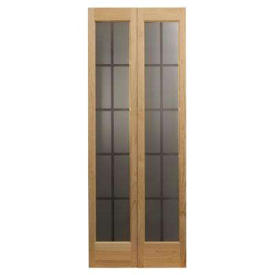 29.5 in. x 78.625 in. Mission Unfinished Pine Full-Lite Decorative Glass Solid Core Wood Bi-fold Door