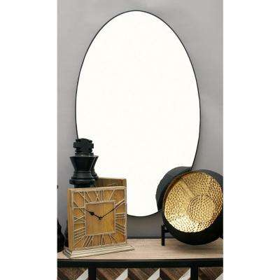 24 in. x 40 in. Modern Oval Black Wall Mirror