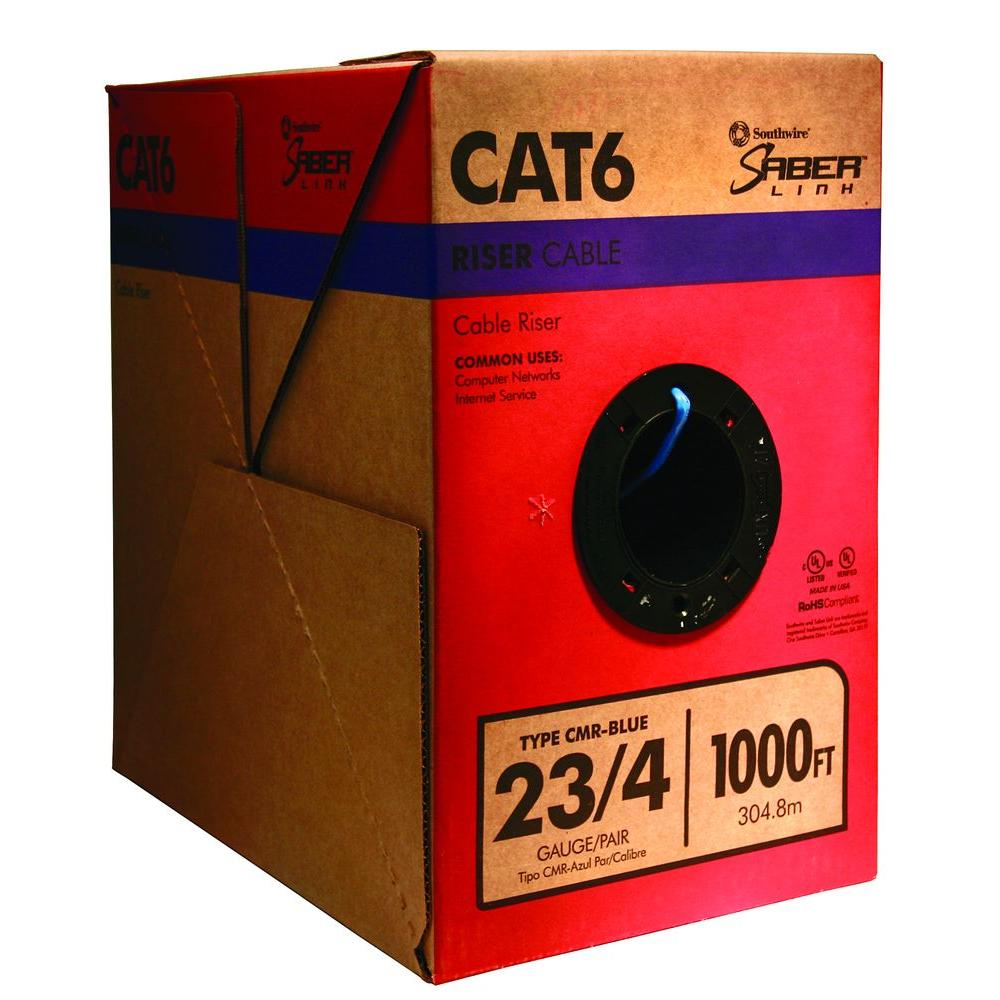 Southwire 1,000 ft. 23/4 Solid CU CAT6 CMR (Riser) Data Cable in  Blue-56918949 - The Home DepotThe Home Depot