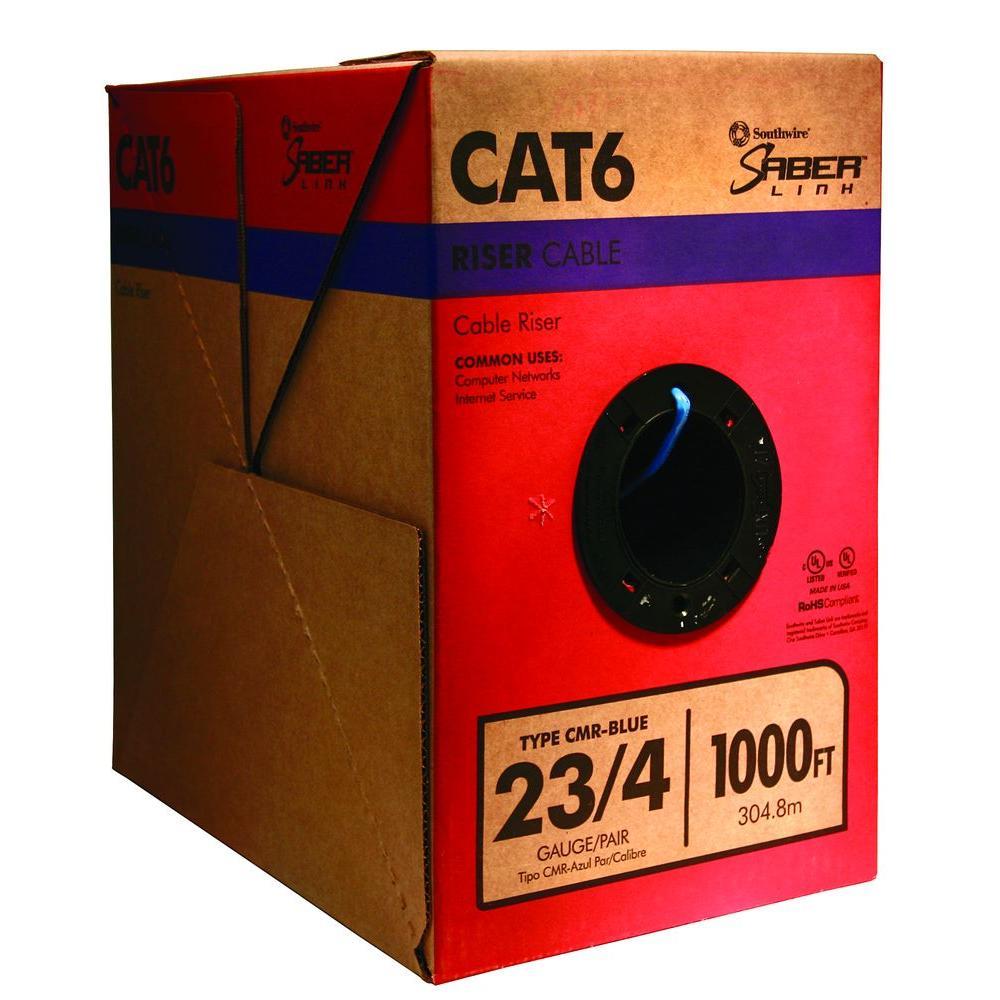 Southwire 1000 ft. Blue 23/4 CAT6 CMR Riser Cable