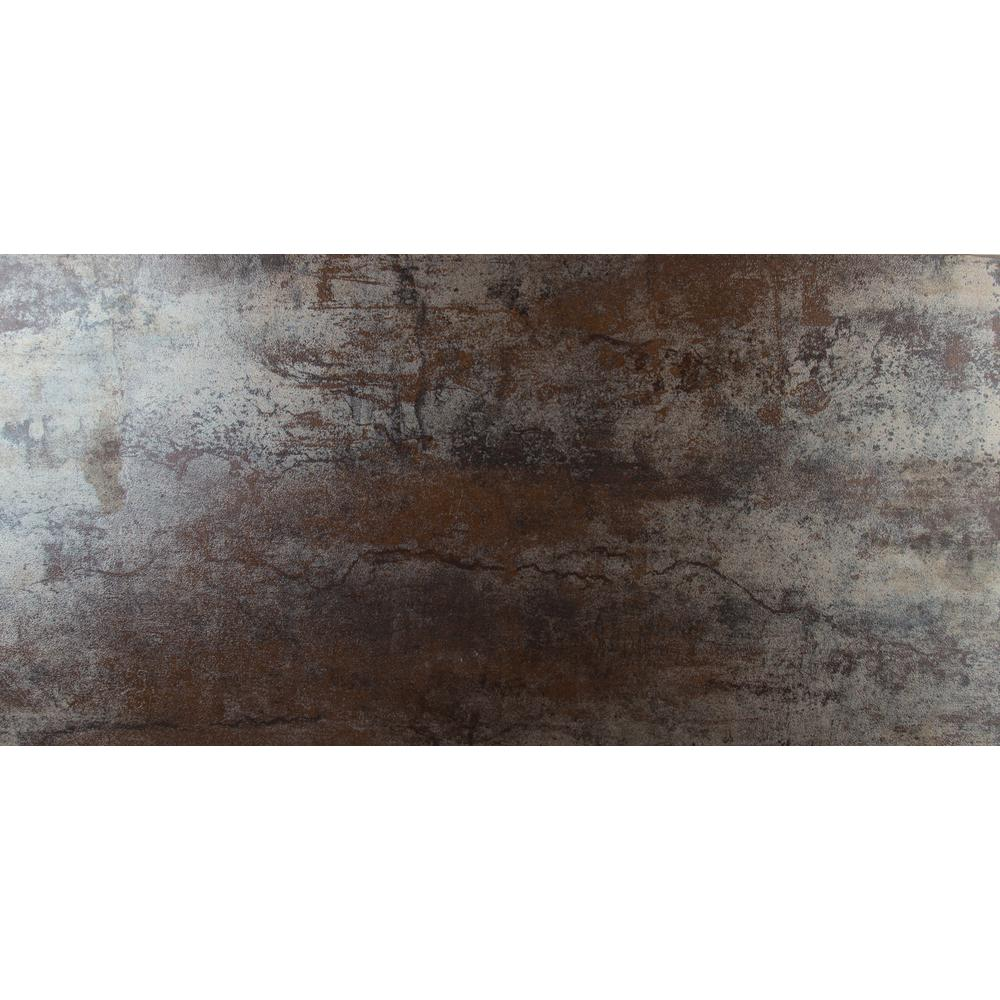 Msi Metallica Rust 12 In X 24 In Matte Porcelain Floor And Wall Tile 16 Sq Ft Case Nmetarust1224 The Home Depot