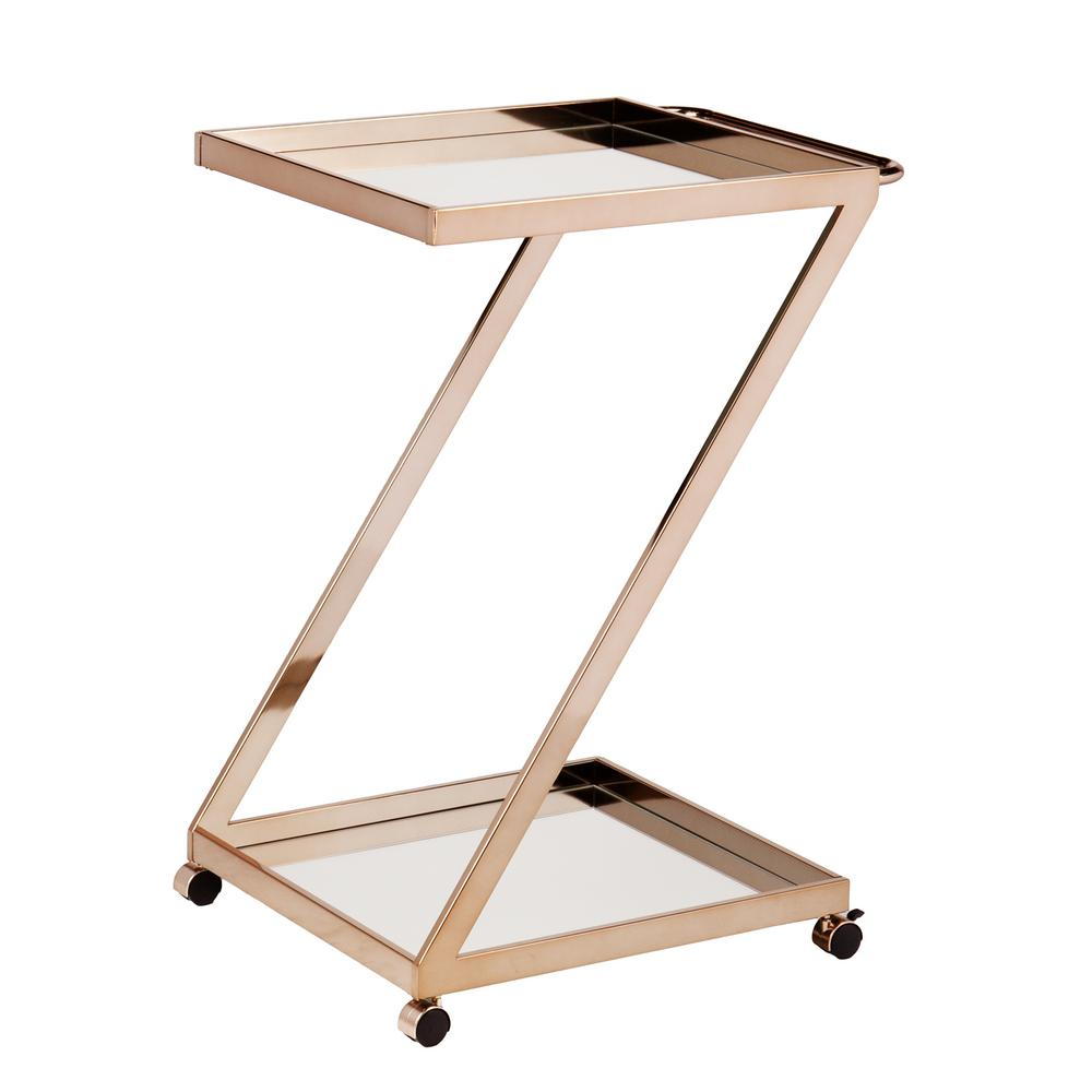 Opaline Bar Cart in Metallic Gold