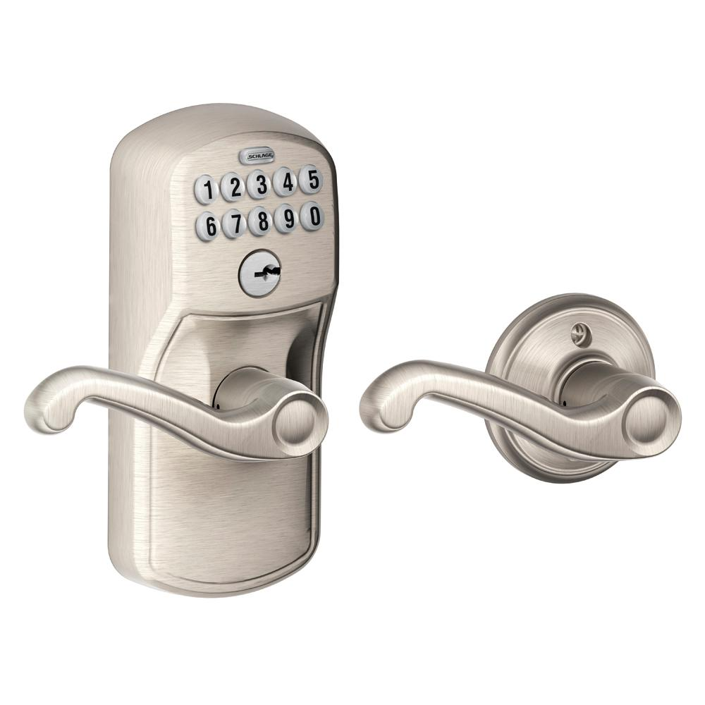 Schlage Flair Satin Nickel Keypad Electronic Door Lever With Plymouth Trim