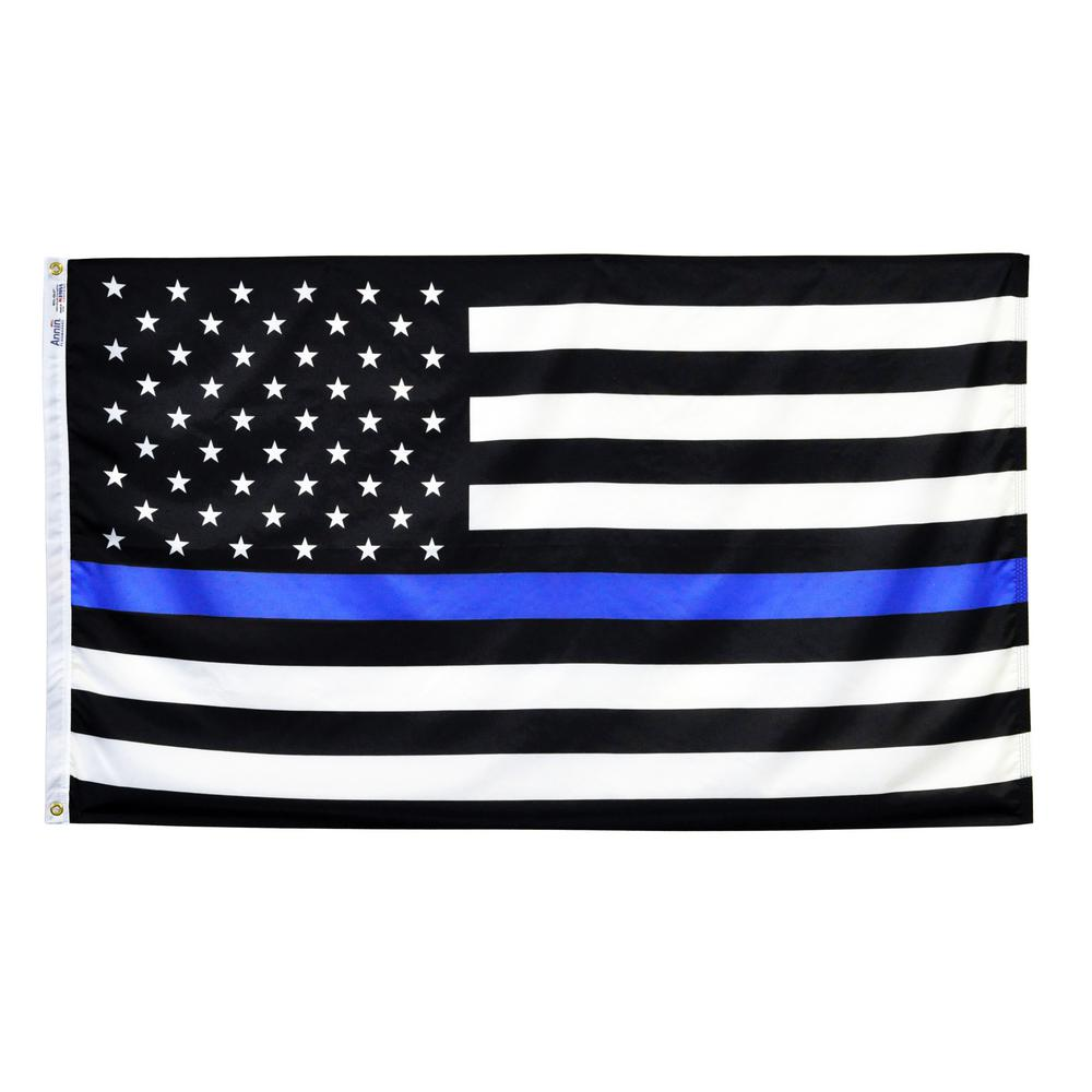 65ad771fa09e Annin Flagmakers 3 ft. x 5 ft. Nylon US Thin Blue Line Flag-3916 ...