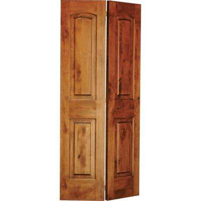 24 in. x 80 in. Rustic Knotty Alder 2-Panel Arch Top Solid Core Unfinished Wood Interior Bi-Fold Door