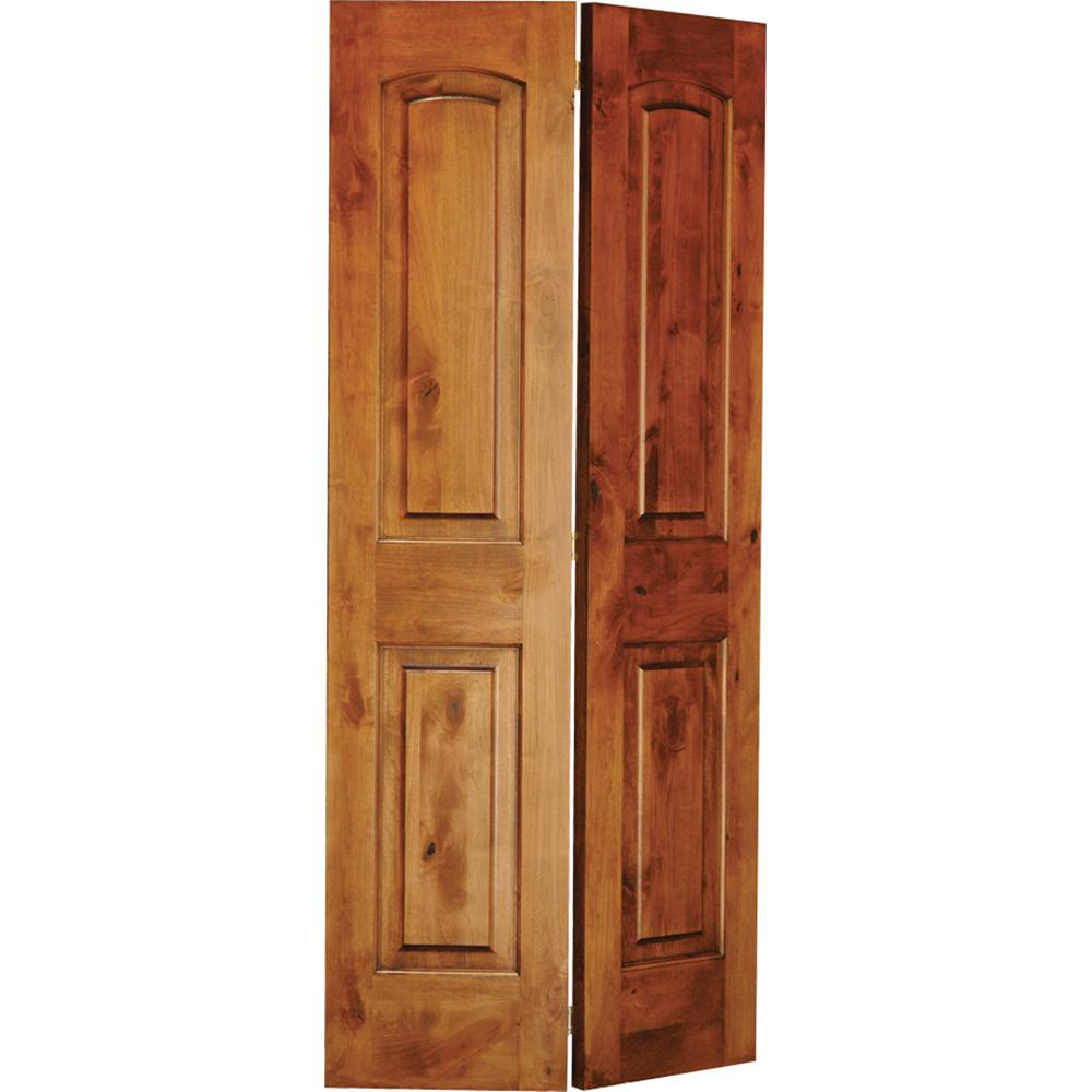 24 in. x 80 in. Rustic Knotty Alder 2-Panel Arch Top