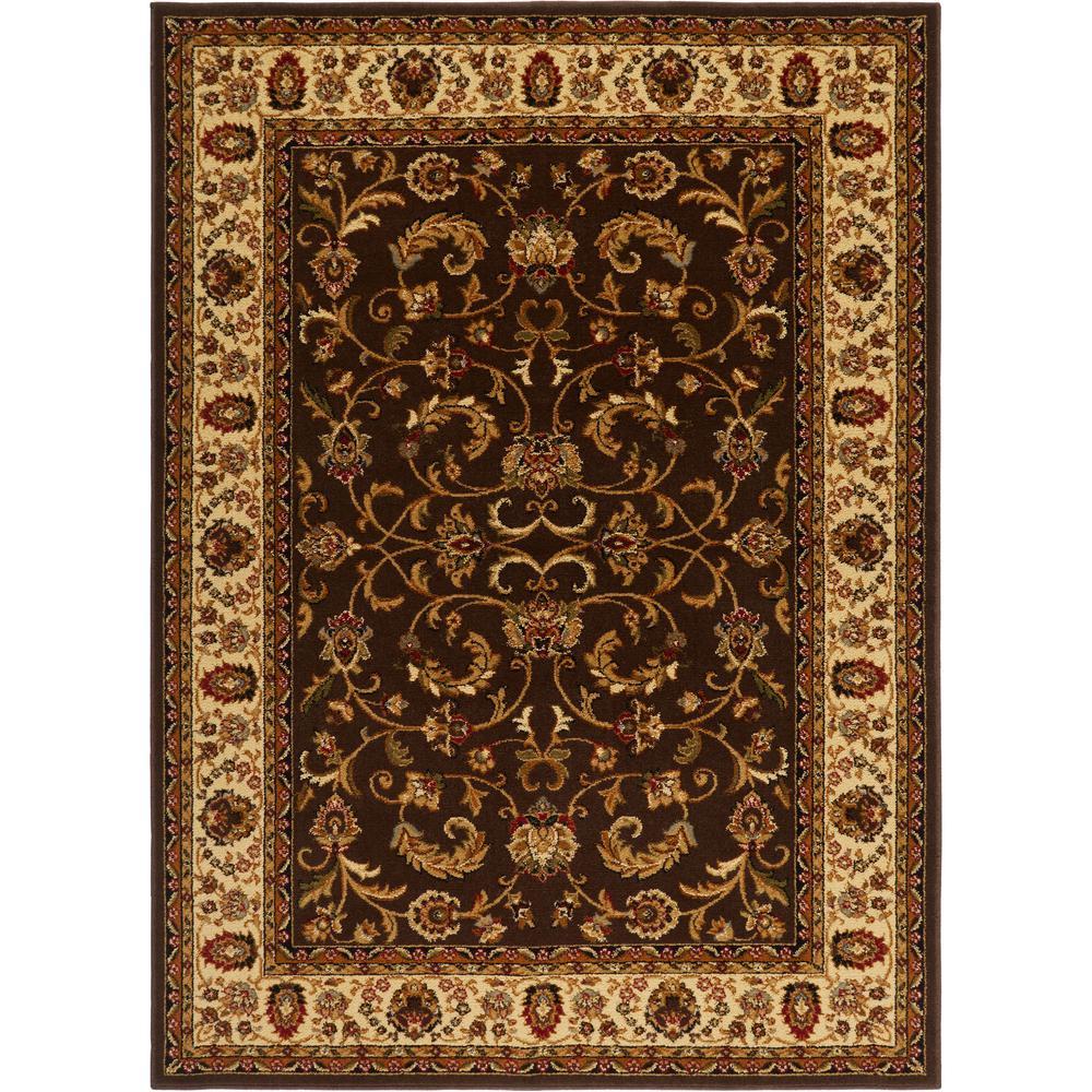HOMEDYNAMIX Home Dynamix Royalty Brown/Ivory 5 ft. x 7 ft. Indoor Area Rug
