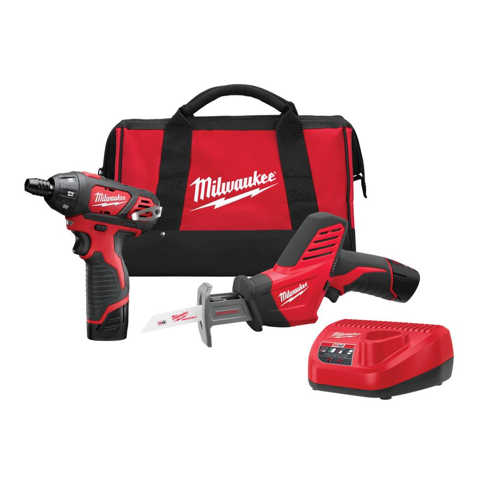 Milwaukee M12 12-Volt Lithium-Ion Cordless Screwdriver/Hackzall Combo Kit (2-Tool) w/(2) 1.5Ah Batteries, Charger, Tool Bag