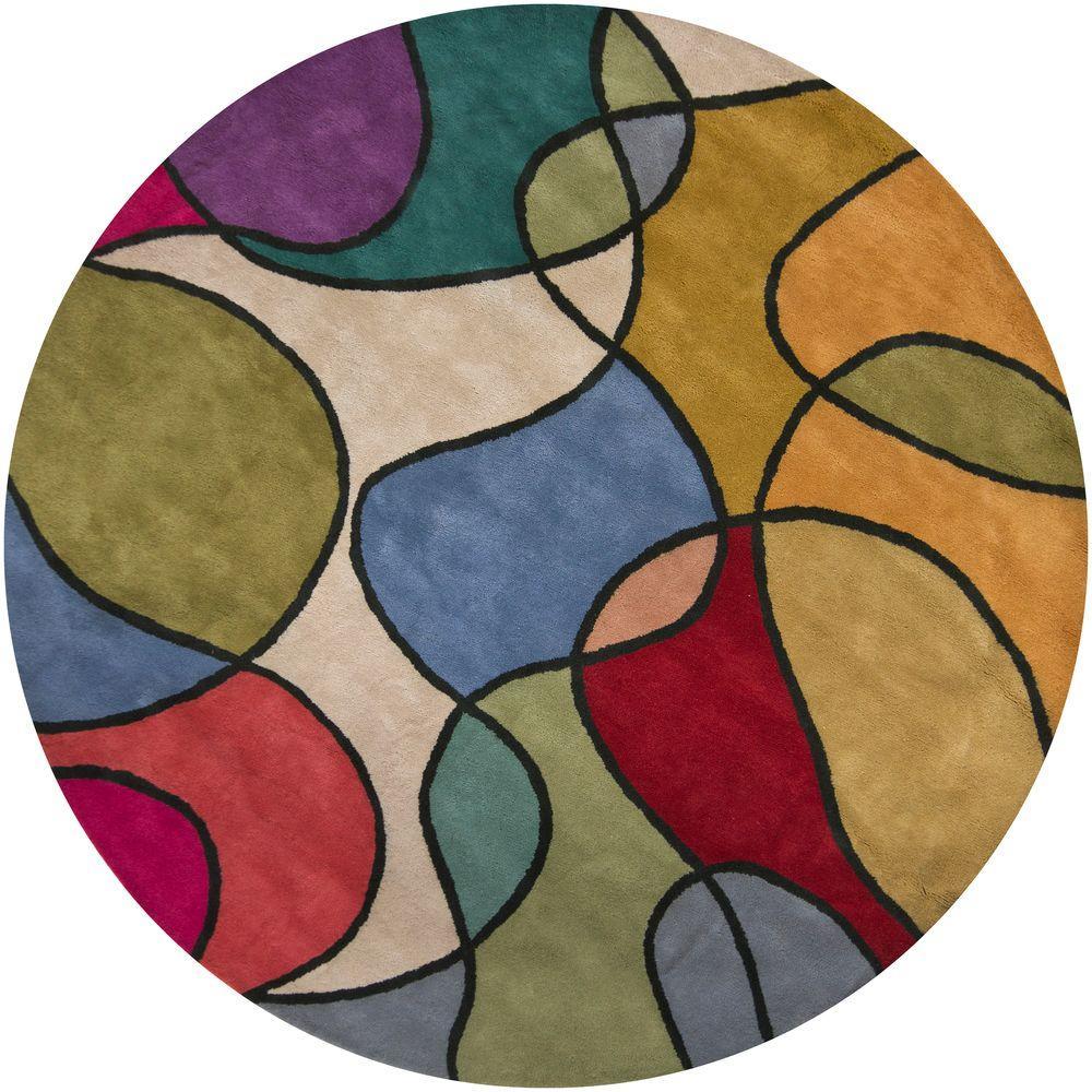 Chandra Bense Multicolor 7 ft. 9 in. Indoor Round Area Rug