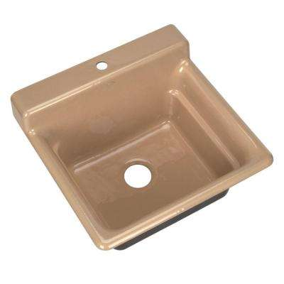 Bayview Self-Rimming Cast Iron 25-1/2 in. x 24 in. x 11 in. 1 Hole Utility Sink in Mexican Sand